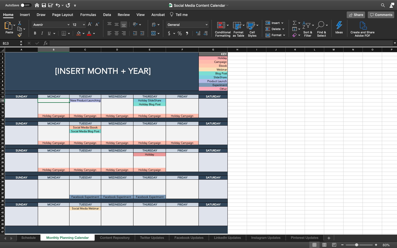 Content Calendar Screenshot
